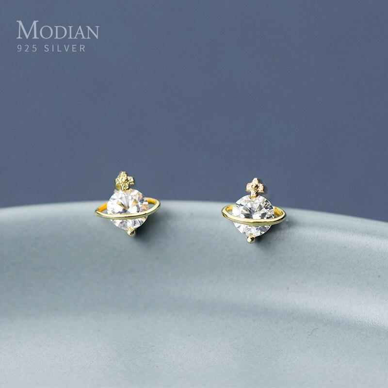 Modian Mysterious Galaxy planet Stud Earrings For Women 925 Sterling Silver Dazzling Clear CZ Stud Earring Charm Party Jewelry