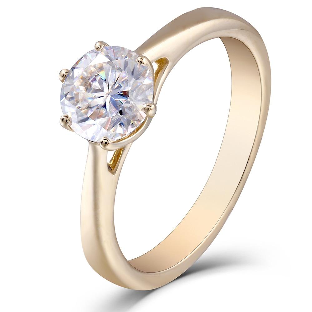 Transgemmes 10 K or jaune 1.0 Carat GH couleur moissanite simulé diamant bague de fiançailles cadeaux de mariage bijoux fins pour les femmes