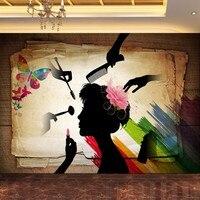 Free Shipping Retro Silhouette Colorful Beauty Salon Decorative Background Wall Custom Wallpaper Murals