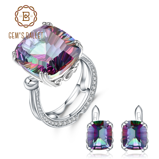GEMS BALLET pendientes de aro de cuarzo místico arcoíris Natural para mujer, conjunto de joyería de boda de Plata de Ley 925, joyería fina
