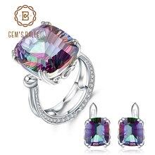 GEMS balet Natural Rainbow Mystic kwarcowy pierścień stadniny kolczyki dla kobiet 925 Sterling srebrna biżuteria ślubna zestaw biżuterii