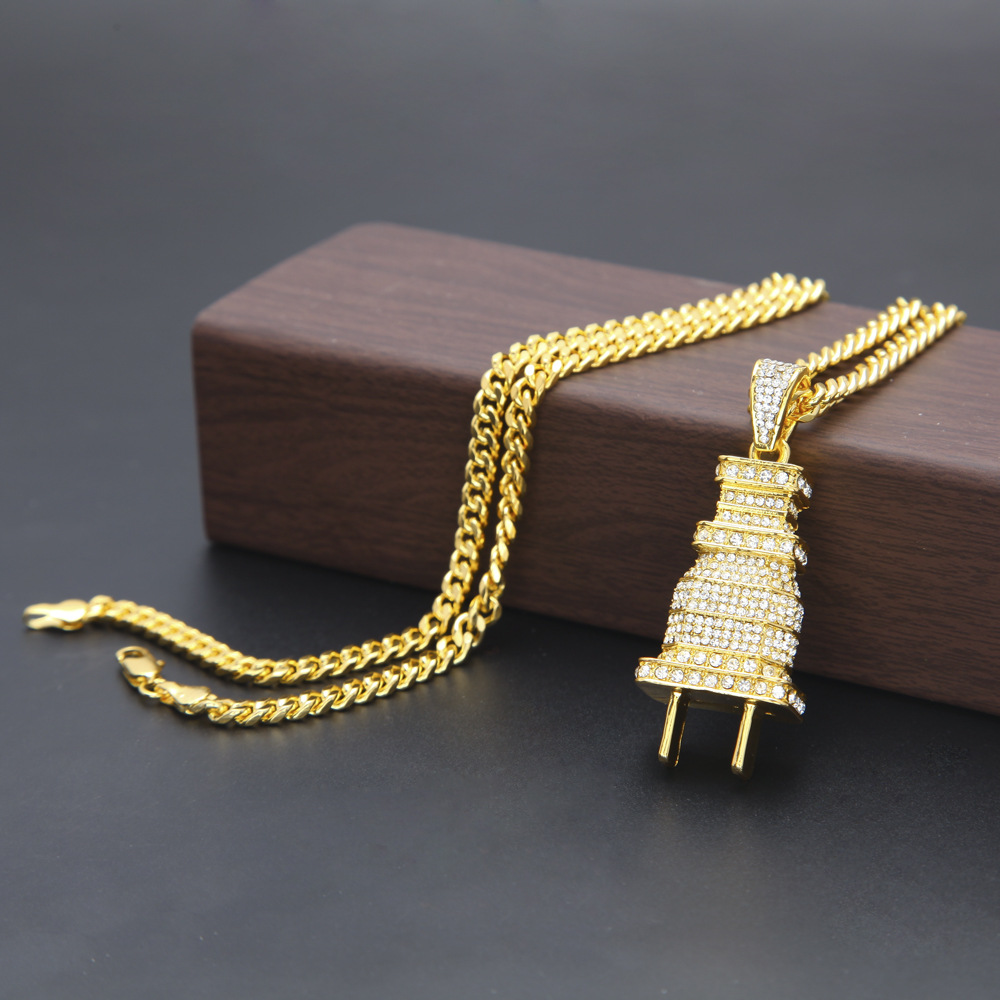 Gold silver plated men hip hop full iced out plug pendant necklace gold silver plated men hip hop full iced out plug pendant necklace with 70cm long cuban link chain bling bling in pendant necklaces from jewelry aloadofball Image collections