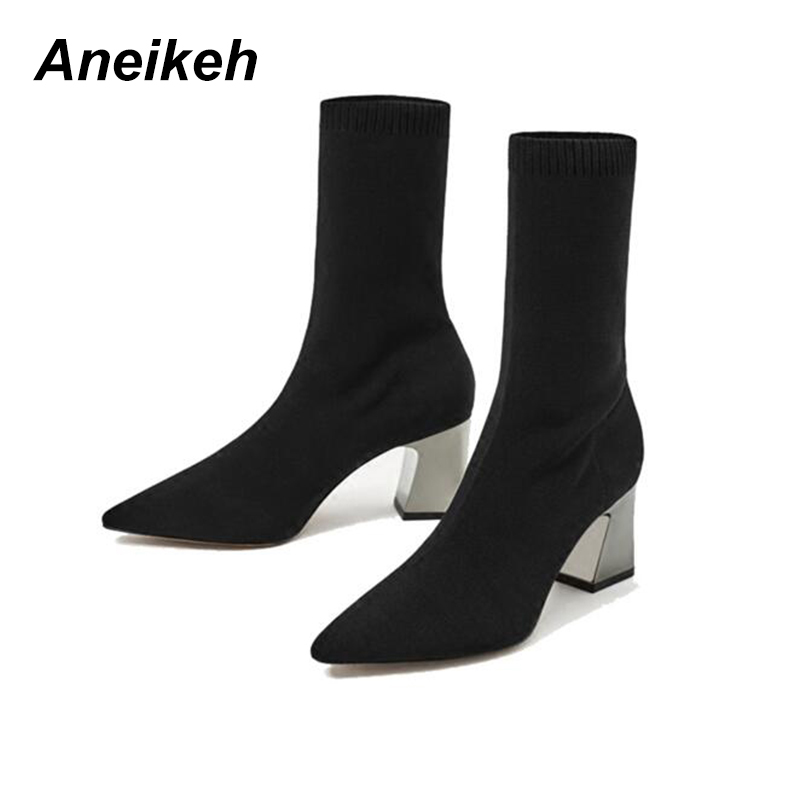 Aneikeh Sock Boots Pump-Size Stretch Chunky Ankle Pointed-Toe High-Heels Elastic Autumn