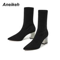 Aneikeh/модные эластичные ботинки до щиколотки на высоком массивном каблуке, эластичные женские осенние пикантные ботинки с острым носком, жен...