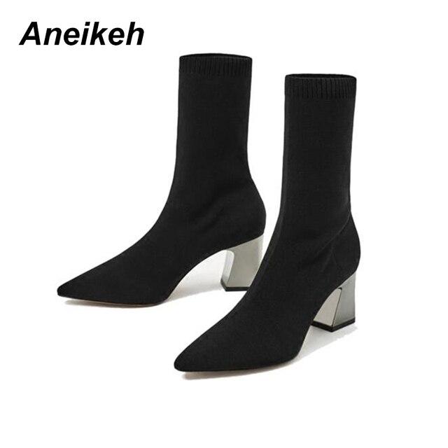 Aneikeh Moda Ayak Bileği Elastik Çorap Çizmeler Tıknaz Yüksek Topuklu Streç Kadın Sonbahar Seksi Patik Sivri Burun Kadın Pompa Boyutu 40 41