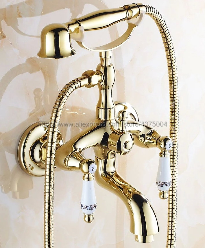 Luxury Gold Color Brass Tub Faucet Wall Mounted Mixer Tap Ceramic Handles With Hand Shower Ntf080Luxury Gold Color Brass Tub Faucet Wall Mounted Mixer Tap Ceramic Handles With Hand Shower Ntf080