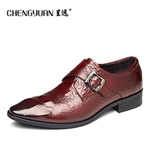 mens business dress leather shoes buckle point toe men flat brown black leather wedding gentleman shoes CHENGYUAN