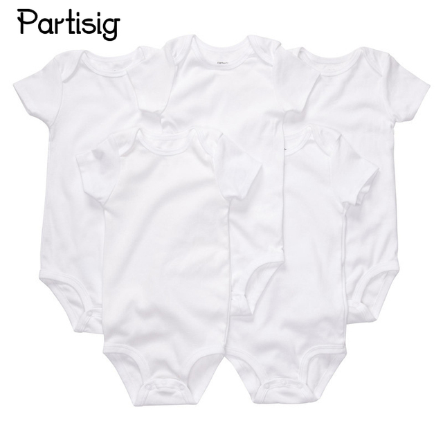 3 PCS LOT Nouveau-Né Combinaisons Coton Uni Blanc Couleur À Manches Courtes  Body 122a8c904a1