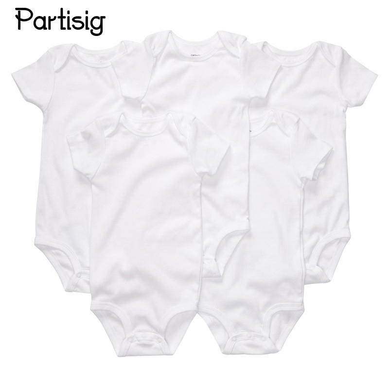 3PCS / LOT Nyfödda Bodysuits Bomull Vanlig Vit Färg Kortärmad Bodysuit För Baby Boy Girl Nyfödd Sommar Kläder