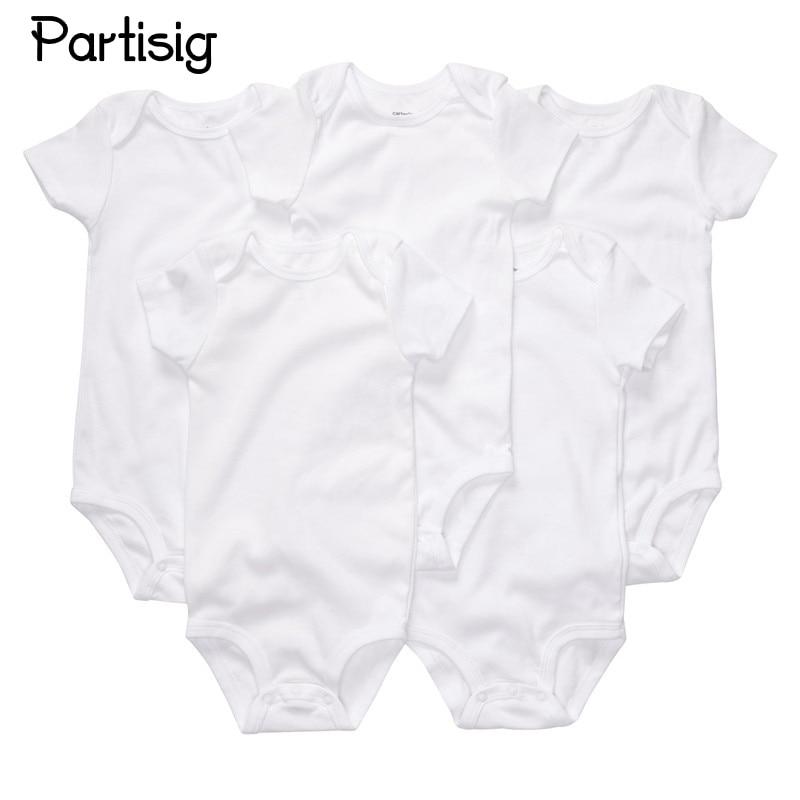 3pcs / lot יילוד Bodysuits כותנה רגיל לבן צבע קצר שרוול Bodysuit עבור התינוק ילד הנערה הקיץ