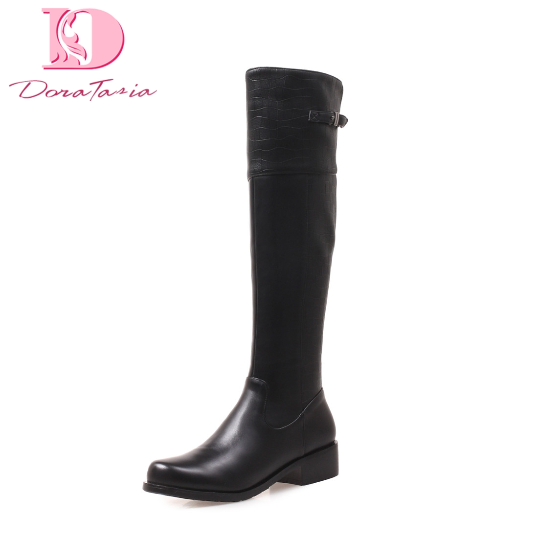 Doratasia new plus size 34-41 Square Heels Buckle Strap womens Shoes Woman Knee High Boots Autumn Boots WomanDoratasia new plus size 34-41 Square Heels Buckle Strap womens Shoes Woman Knee High Boots Autumn Boots Woman