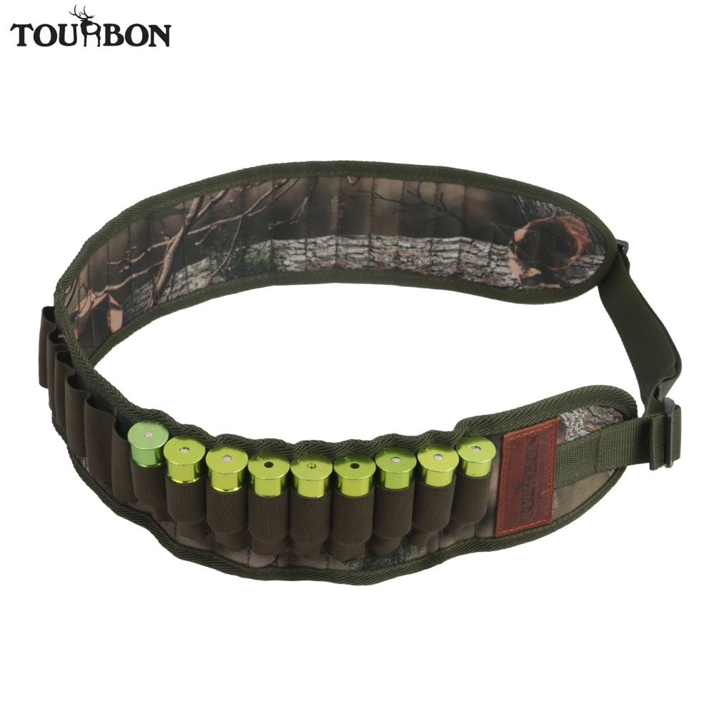 Tourbon Tactical Hunting Shotgun 12/16/20 Gauge Ammo Shells Belt Cartridge Holder 30 Rounds Bandolier Camo Nylon Gun Accessories
