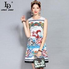 LD LINDA DELLA New Fashion Runway Summer Dress Womens Sleeveless Tank Warrior Angel Printed Crystal Beading Vintage