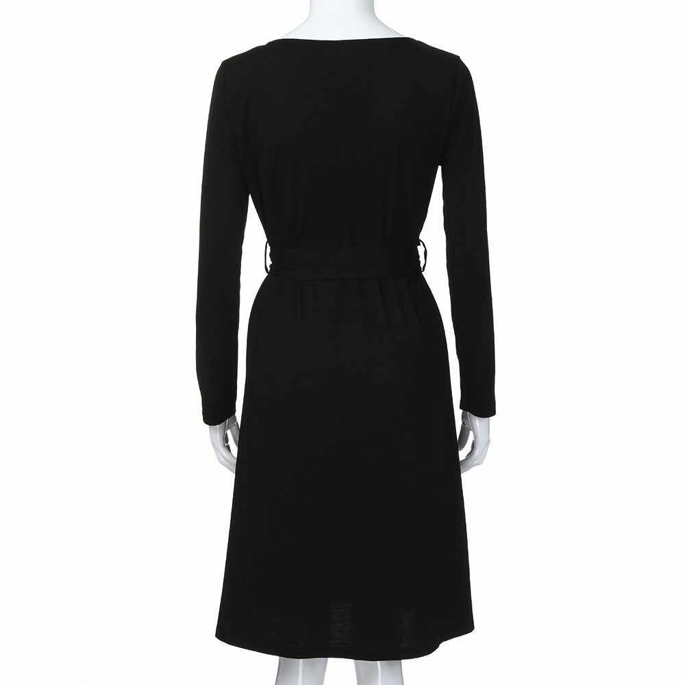 Women's Casual V Neck Long Sleeve Button Down Swing Dress Party Mini Dresses vestir robe vestido robe feminine robe femme #2S