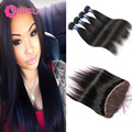 10A MSU Indian Virgin Hair Straight 4 Bundles with Frontal Closure Raw Indian Virgin Hair Frontals with Baby Hair and Bundles