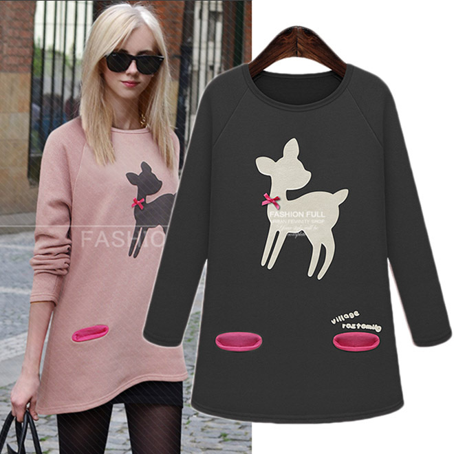 winter womens long sleeve pink reindeer sweater knitting pullover christmas xxl loose oversized sweater tunic tops in pullovers from womens clothing