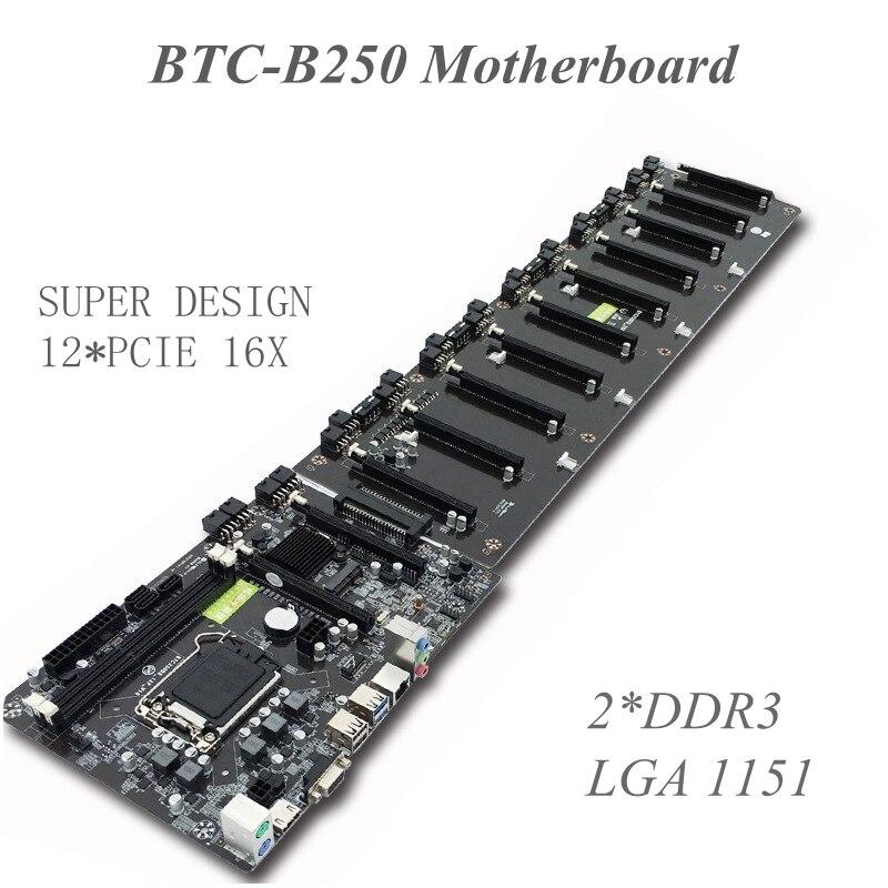 880*175mm Carte Mère B250 Carte Mère 2 * DDR3 LGA 1151 Sockets 3 * SATA3.0 12X PCIE X16 Graphique cartes SATA3.0 Minière Carte Mère
