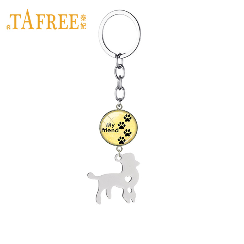 TAFREE Pet Dog Print Keychain Germany Poodle Charms Key Chain Keyrings Glass Gems Stainless Steel Jewelry Best friend Gift SKU06