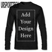T Shirt à manches longues pour hommes de marque URSPORTTECH ajouter votre propre image de texte sur votre T Shirt personnalisé