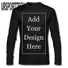 URSPORTTECH marka Custom Men koszulka z długim rękawem dodaj swój własny obraz tekstowy na spersonalizowanej spersonalizowana koszulka