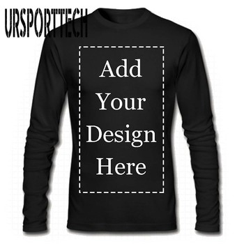 URSPORTTECH Brand Custom Men Long Sleeve T-Shirt Add Your Own Text Picture on Personalized Customized Tee
