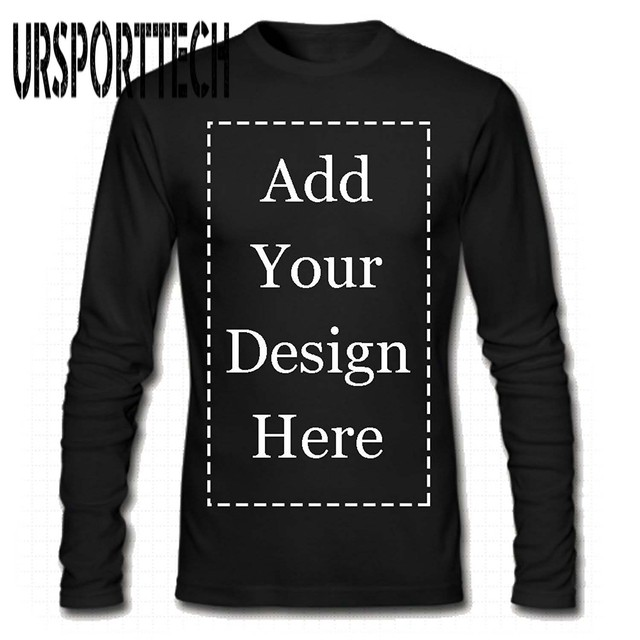 URSPORTTECH Brand Custom Men Long Sleeve T Shirt Add Your Own Text Picture on Your Personalized Customized Tee