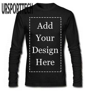 Image 1 - URSPORTTECH 브랜드 사용자 정의 남성 긴 소매 티셔츠 맞춤형 맞춤형 티에 자신의 텍스트 그림 추가