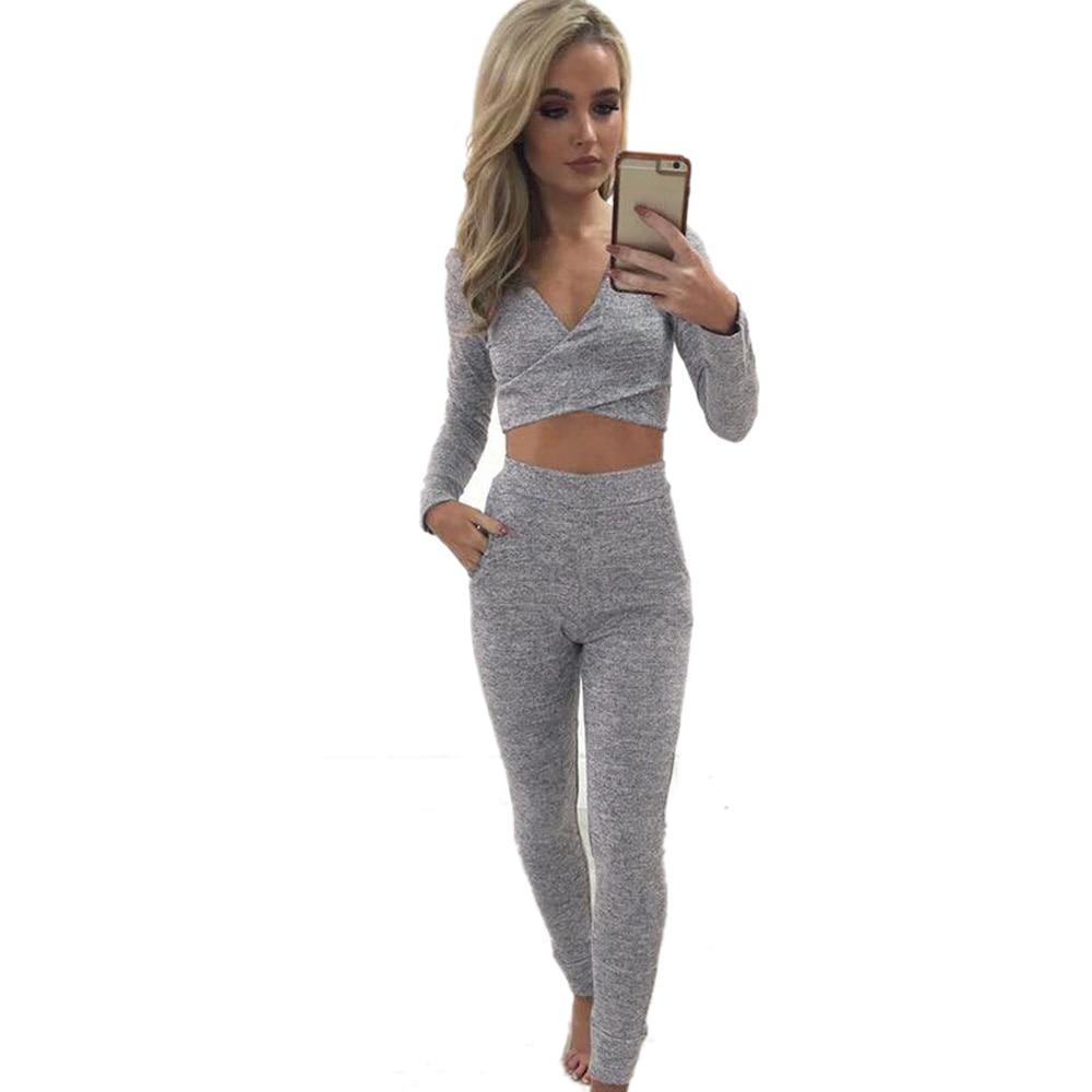 2018 Hitmebox Women Slim Tracksuit Set Strapless off shoulder long sleeve Tops+long pants Suits 2 Piece Set Crop Top and Pants