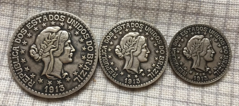 1913 Brazil 2000-500 reis 3 coins COPY