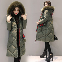 Women Parkas Winter jacket Warm Thicken Long Hooded Cotton Padded Parkas Causal Female Big Fur Jacket Coat M 3XL