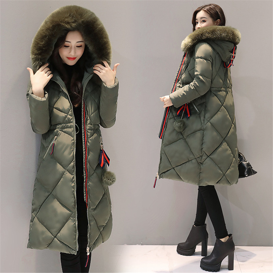 Women   Parkas   Winter jacket Warm Thicken Long Hooded Cotton Padded   Parkas   Causal Female Big Fur Jacket Coat M-3XL