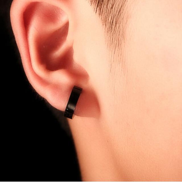 1 Pair Men S Stainless Steel Non Piercing Earring Clip On Ear Stud Cuff Earrings
