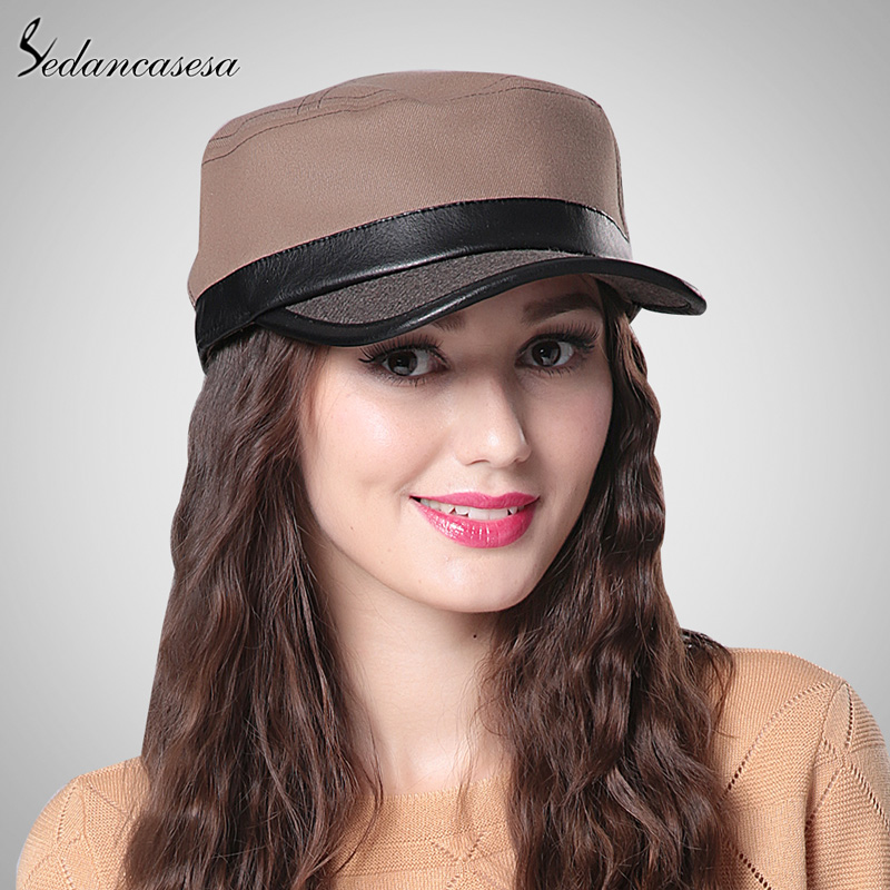 Detail Feedback Questions about Fashion Casual Women Men Ladies Leather  Flat Baseball Cap Patchwork Cotton Wool Female Male Snapback Hat WG015018  on ... 565966e3dcb