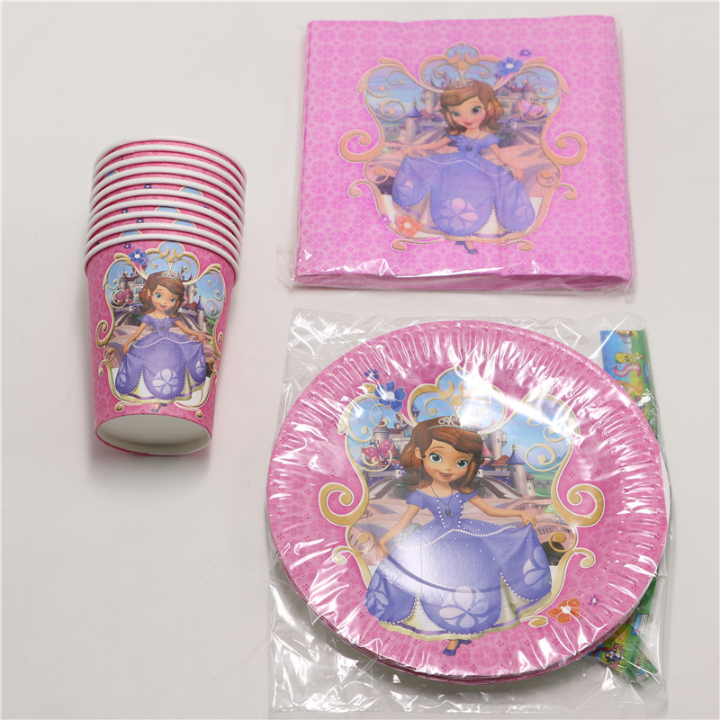 kids princess sofia theme birthday party decoration paper plates cup cartoon party set for 10people set 40pcs baby shower favors-in Disposable Party ... & kids princess sofia theme birthday party decoration paper plates cup ...