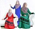 Novas Mulheres Maxi Muçulmano Vestido Longo Cheio do Comprimento Do Laço Ganment Jibab Abaya Kaftan Robe Roupas