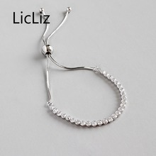LicLiz New 2019 925 Sterling Silver Zircon Bracelet for Women White Gold CZ Crystal Adjustable Snake Chain Gifts LB0128
