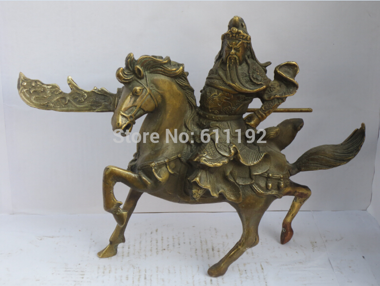 free shipping Antique FengShui home decoration Copper Guan Yu sculpture Metal crafts, Horse statue Metal crafts