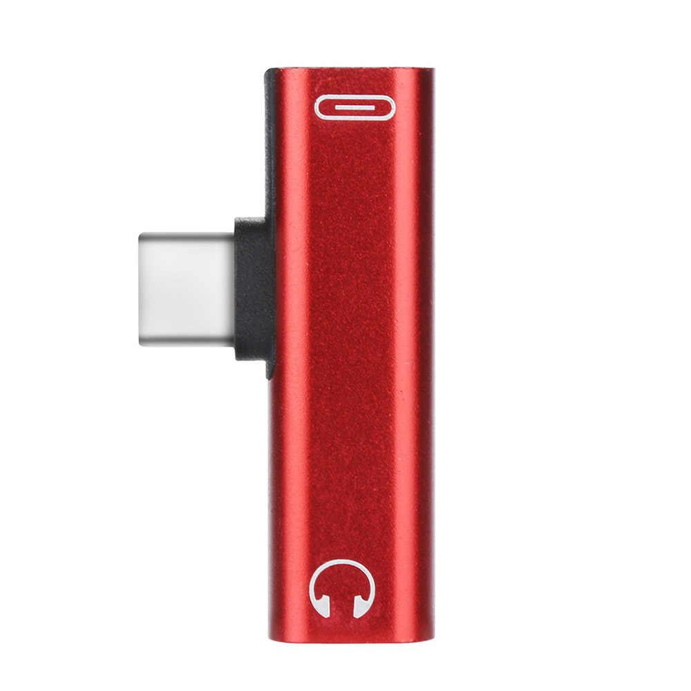 2 w 1 typu C Adapter Audio USB typu C do 3.5mm gniazdo słuchawkowe kabel Audio ładowania przejściówka rozgałęziająca