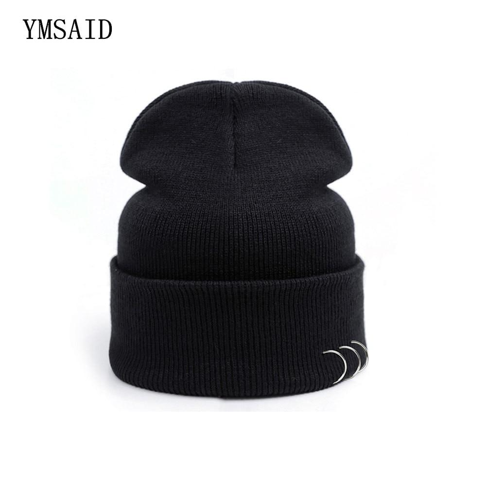Vogue Black Beanies Hats Harajuku Style Iron Ring Pure Color Cotton Knit Skullie Couples Hip- Hop Punk Caps Unisex Accessories