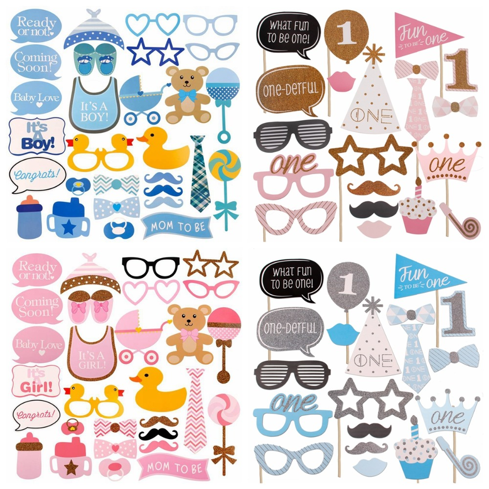 FENGRISE 25pcs Baby Shower Photo Booth Props Its a Boy Girl Fun 1st Birthday Party Decoration PhtotoBooth Mustache Centerpieces