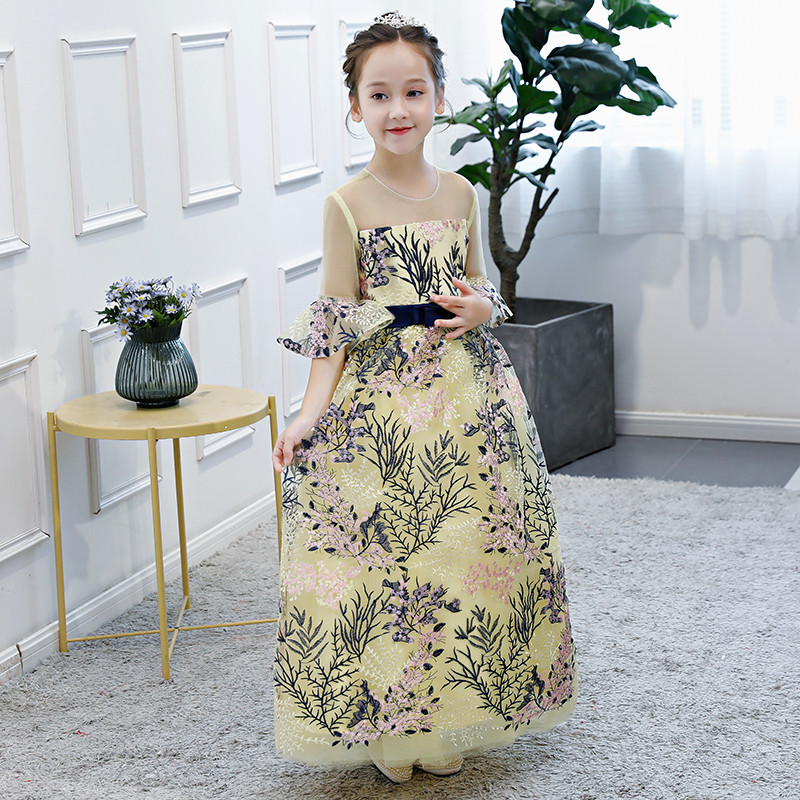 все цены на Summer Autumn Fashion Children Girls Embroidery Lace Flare Sleeves Birthday Evening Party Dress Kids Teens Piano Costume Dress