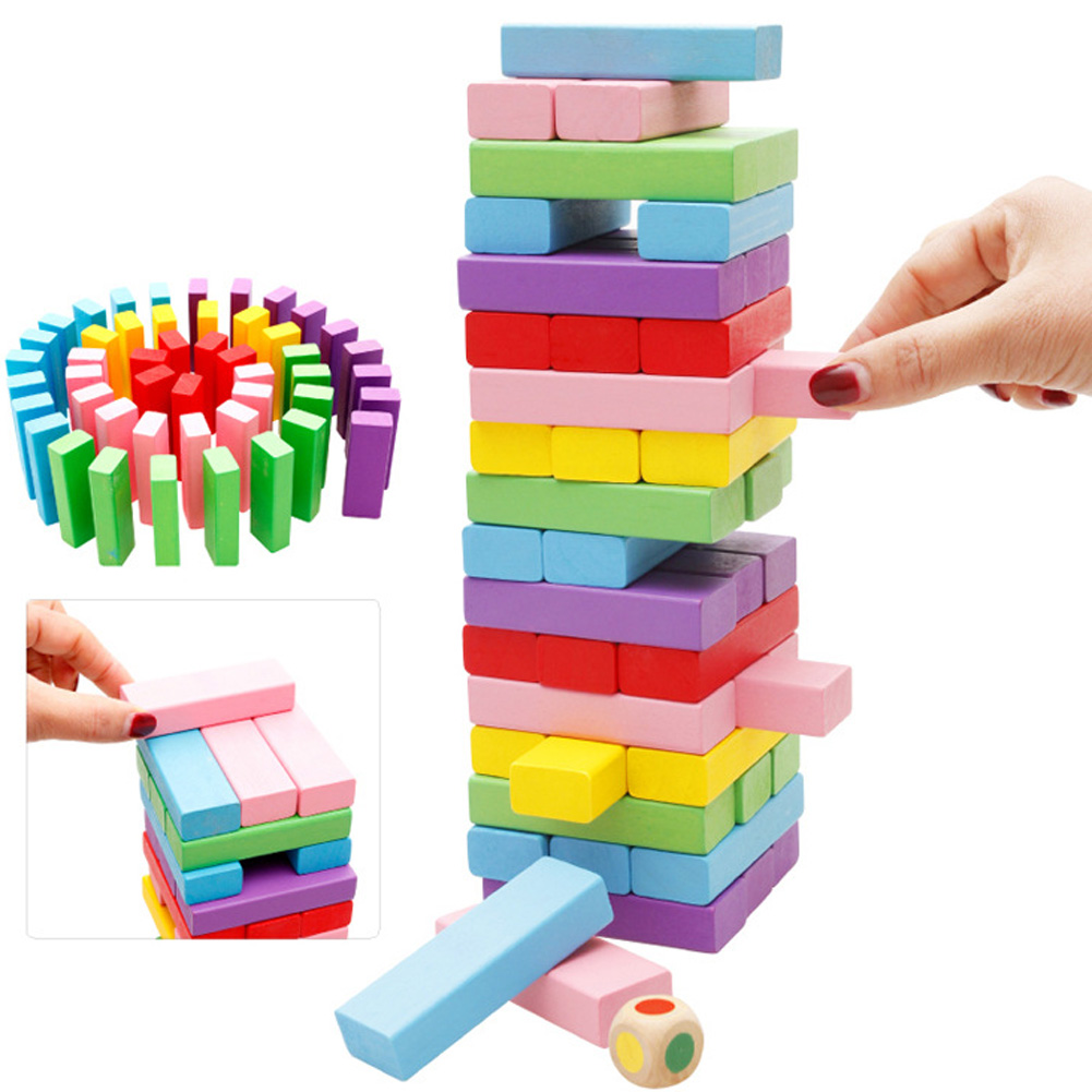 Children Educational 48pcs Wooden Montessori Toys Model & Building Donimo Blocks Toy Layers Piles Stacked High Pumping Bricks high quality 50pcs classical and 52pcs forest animals wood building blocks toy bottled children educational wooden toy block