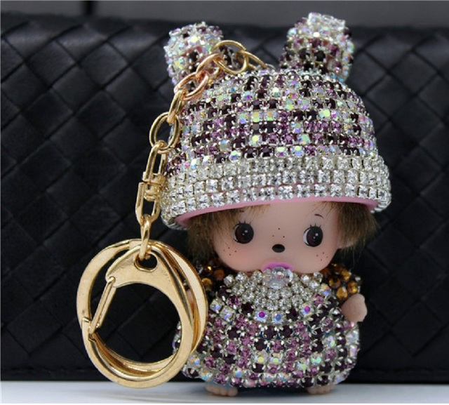 Boys Girls Gift Monchhichi Cartoon Keychain Mujer Chaveiro Carro Charm Rhinestone Key Chains Ring Holder Women Bag Car Jewelry