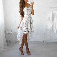 Sexy V Neck Backless Biały Appliqued Koronki Sukienka Sukienki Letnie Kobiety Floral Szydełka Hollow Out Kadencji Suknie Vestidos