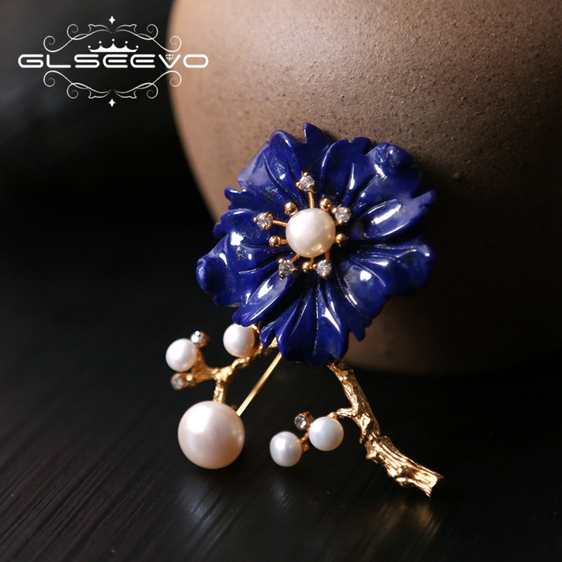 GLSEEVO Natural Fresh Water Pearl Brooch Pin Lapis Lazuli Flower Brooches For Women Dual Use Fine Designer Jewelry Luxury GO0214 glseevo natural lapis lazuli flower brooch pins and brooches for women accessories birthday gifts dual use luxury jewelry go0183