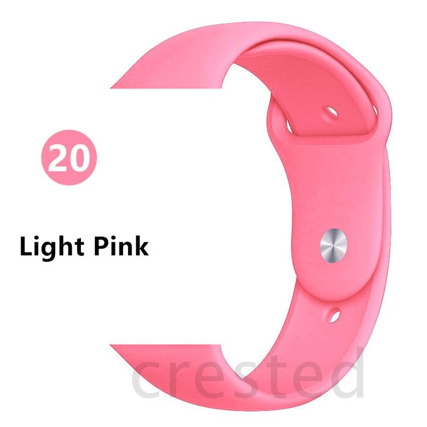Силиконовый ремешок для apple watch 4 5 44 мм/40 мм спортивный ремешки для apple watch 3 42 мм/38 мм резиновый ремень браслет ремешок для часов apple watch Band Мягкий красочный ремешок iwatch series 4 3 2 1 - Цвет ремешка: Light Pink