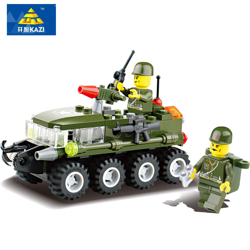 KAZI 102Pcs Military Armored Car DIY Toy Military Vehicle Armored Vehicles Building Blocks Playmobil Toys for Children