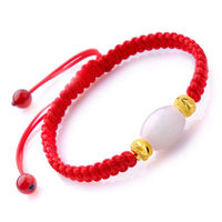 Natural Hetian Jade Bead&Pure 24K Yellow Gold 4.5mm Beads Lucky Knitted Bracelet