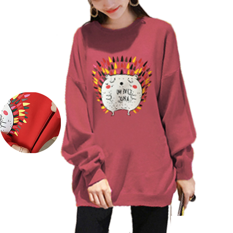 Maternity Casual Nursing Sweatshirt Dress Breastfeeding Long Tops Clothes for Pregnant Women Cute Hedgehog Print Pregnancy top casual print round neck ruffled top for women
