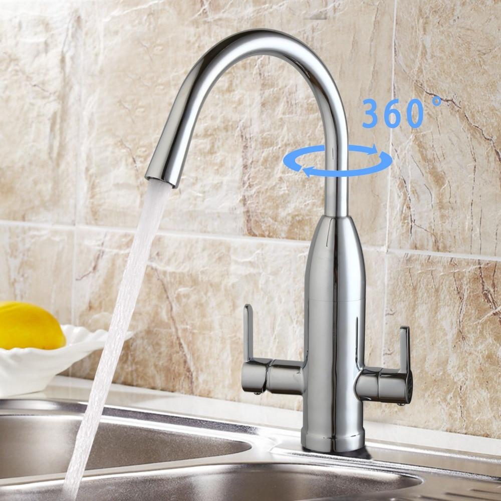 Contemporary 360 Degree Swivel Kitchen Faucet  Polished  Brass Kitchen Faucet Dual Handles Vessel  Hot Cold Water Eminent Mixer antique brass swivel spout dual cross handles kitchen
